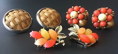 3 PAIR MIXED LOT OF VINTAGE CLIP ON EARRINGS, Coral And Wood Collection