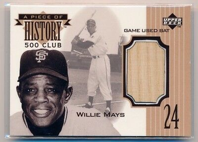 WILLIE MAYS 1999 Upper Deck A Piece of History 500 HR Club BAT RELIC GIANTS HOF