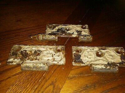 Antique Vintage Door Hinges Rusty Iron Set of 3