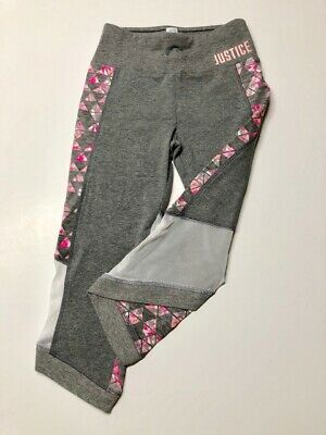JUSTICE Girl's Capri Leggings 10 Gray Multi-Colored White Mesh New NWOT Athletic