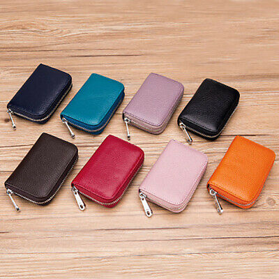 RFID Blocking Leather Wallet Credit Card Holder Zipper Pocket Thin Unisex US