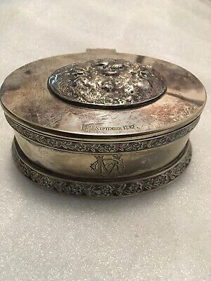 Antique Sterling Silver Trinket Box Dated 1892 Mizpah