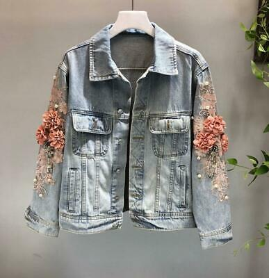 Womens Denim Embroidery Floral Long Sleeve Casual Jacket Washed Jeans Coat Chic