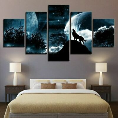Wolf Howling Full Moon Night Animal Forrest Home Decor Matted Picture USA A303
