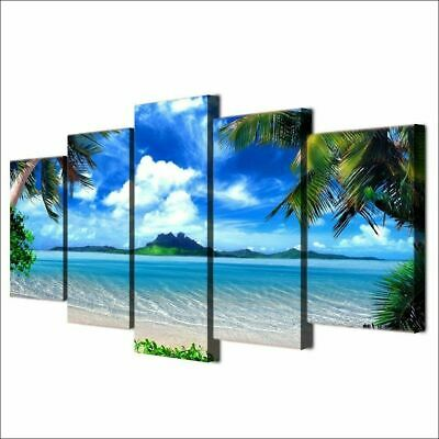 Green Palm Tree Natural Blue Beach 5 Pcs Canvas Wall Picture Poster Home Decor