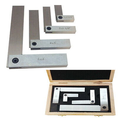 """Machinists Hardened Steel Square Set 4 Pc 2""""/ 3""""/ 4""""/ 6"""" Right Angle"""