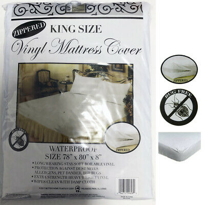 King Size  Heavy Vinyl Zippered Mattress Cover 100% Waterproof & Bed-Bug Proof