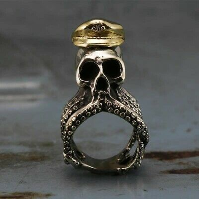 Mens 316L Stainless Steel Ring Octopus Skull Captain Rings Fashion Biker Jewelry