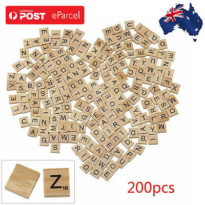 200pcs Wooden Alphabet For Scrabble Letters&Numbers Tiles Black Wood Game&Crafts