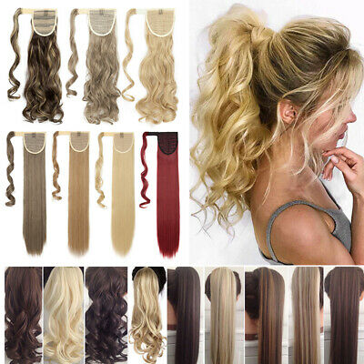 Brown Real Natural As Human Wrap On Around Ponytail Hair Peice Extensions Women