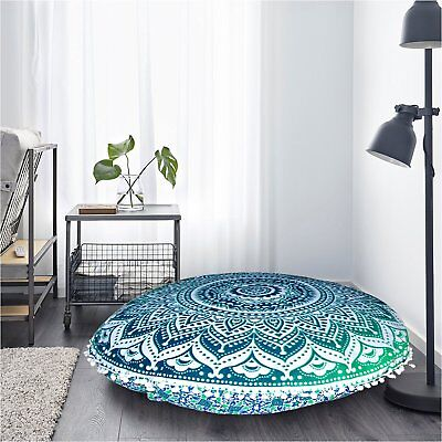 "Ottoman Handmade 32"" Cover Patchwork Footstool Round Vintage Floor Pouf US"