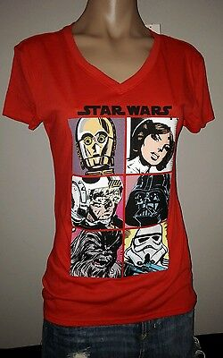 Star Wars Red Squares Cartoon Faces V-Neck Movie Lg Large Womens Top T Shirt New