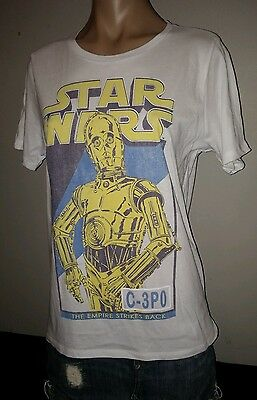 Star Wars Name Blue Yellow White Tee Blue C3Po Lg Large Womens Top T Shirt New