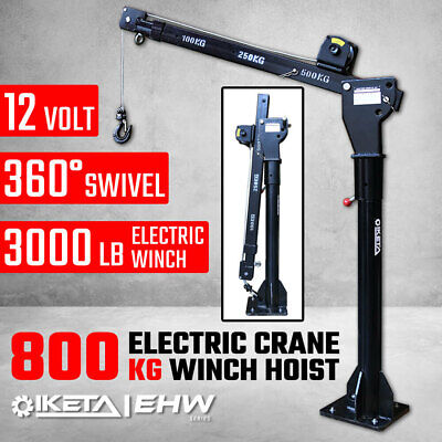 800kg Electric Hoist Winch Crane 12V Swivel Car Truck UTE Lift 360° Pick up