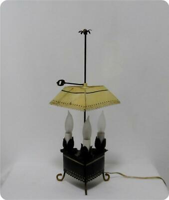 Antique Handpainted Black Tole Metal Student Reading Library 3 Light Table Lamp