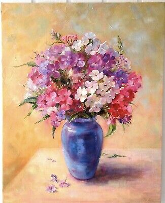 Oil Painting On Canvas Flowers In Vase Phlox Floral Art 16x20inch Framed