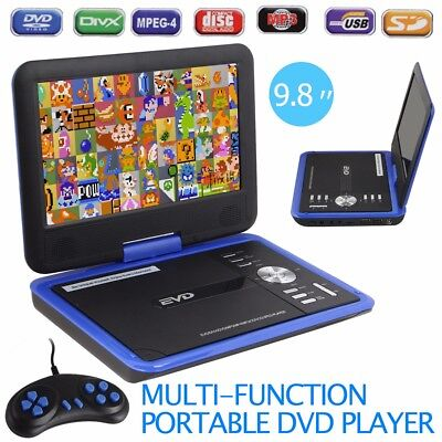 "NEW Protable 9.8"" DVD Player In-Car Rechargeable Swivel 300 Games MP4 AVI TV MPG"