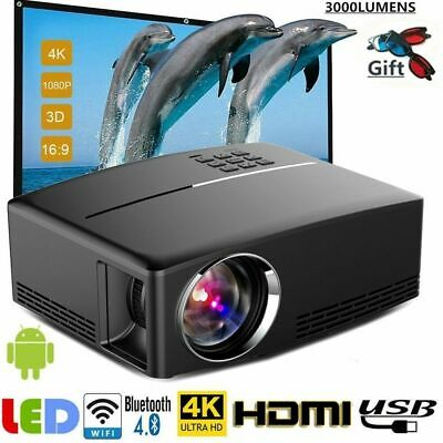 4K1080P Home Theater LED Android 6.0 Wifi  Projector Bluetooth AV/VGA/USB/HDMI