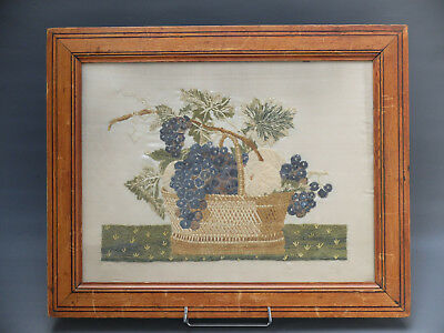 Nature Morte Broderie Ancienne Xix Ancient Embroidery 19 C. Still Life Anc Frame