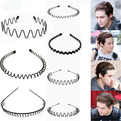 Unisex Men's Women Sports Wave Hair Band Metal Black Hairband Headband Aliceband
