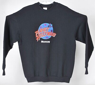 Vintage 90s Planet Hollywood Moscow Embroidered Sweatshirt XL Made USA Black