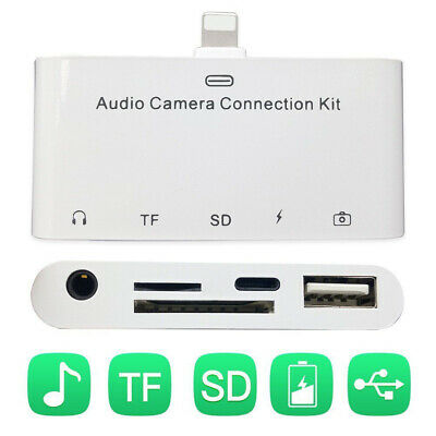 5in1 Lightning Audio Card Reader Connection Kit TF/SD Camera Reader for iPhone