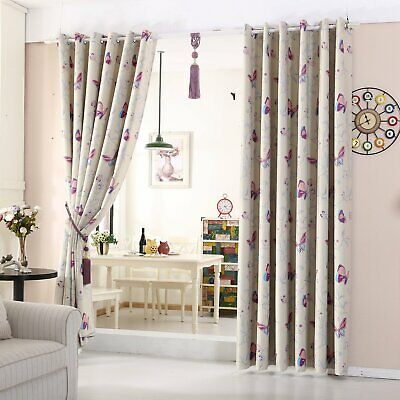 Butterfly Thermal Blackout Curtains Eyelet Top Pair of Curtain Heavy Fabric
