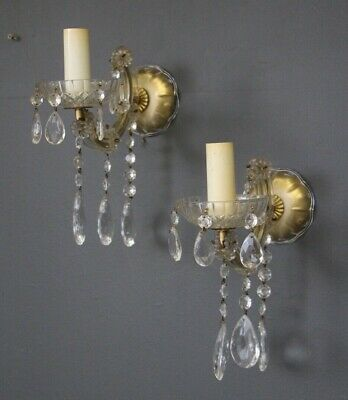 Pair glamorous vintage crystal wall lights antique rococo sconces 1930 originals