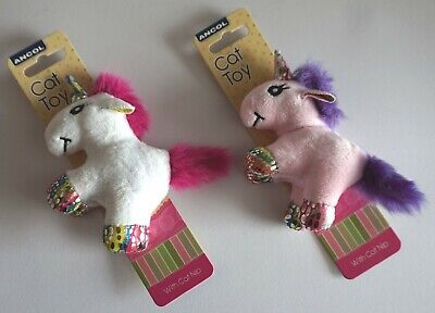 Ancol Cute Catnip Unicorn Cat Toy Pink Or White 13Cm Unicorn Cat Kitten Toy