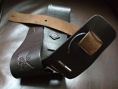 Minotaur guitar strap, heavy leather, very dark brown