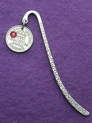 Birthday gift 1947-1967 lucky sixpence choose birthstone bookmark 70th 65th 60th