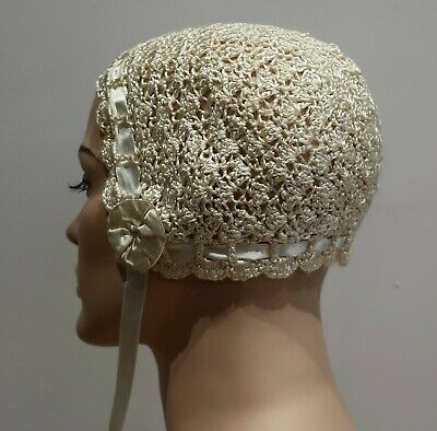 VINTAGE ANTIQUE SILK CROCHET BABY BONNET 1920s