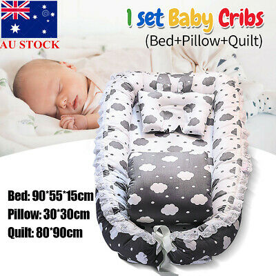 AU Baby Sleep Nest Bed Pillow Quilt Boys Girls Breathable Cotton Sleeping