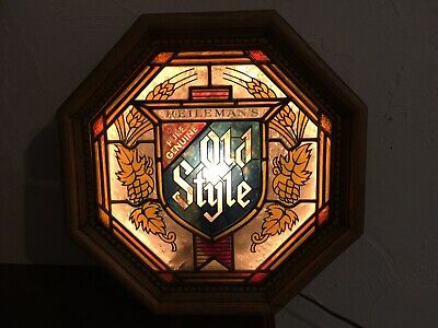 Vintage Heileman's Old Style Beer Light Bar Sign Octagon Stained Glass Wood Look