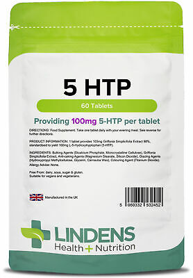 5-HTP 100mg x 60 Tablets - Improves sleep and reduces stress- Lindens UK