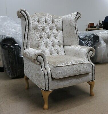 Georgian Chesterfield Queen Anne High Back Wing Chair Pearl Velvet