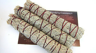 SILVER KING Smudge Stick 3 Pack Bundle Lg 8inch Instruction Card Space Cleansing