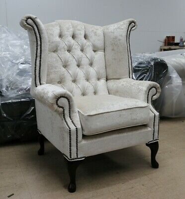 Georgian Chesterfield Queen Anne High Back Wing Chair Oyster Velvet