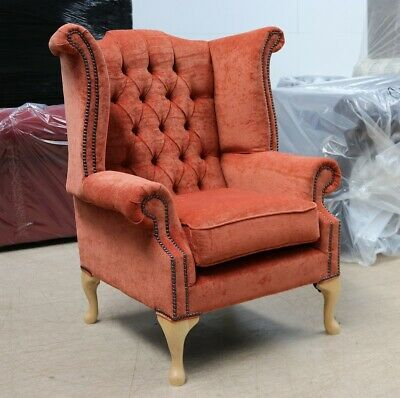 Georgian Chesterfield Queen Anne Buttoned High Back Wing Chair Copper Fabric