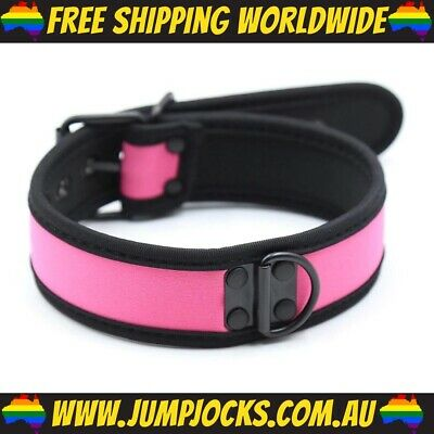 Pink Rubber Puppy Collar - Fetish, Bondage, Gay *FREE SHIPPING WORLDWIDE*
