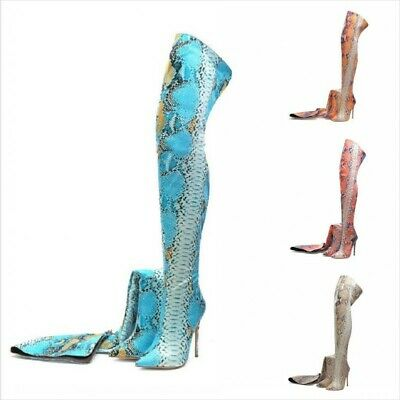 Snakeskin Print Pointed Thigh High Over The Knee Women Boots Tall Shoes Stiletto