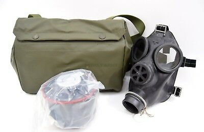 Original Swiss Army SM67 Gas Mask NEW Set Black Rubber Respirator Military