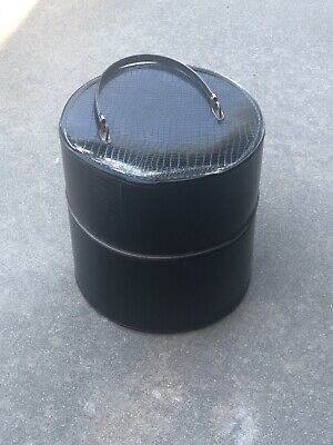Vtg Black Leather Like Reptile Design Tall Cylindrical Hat Box