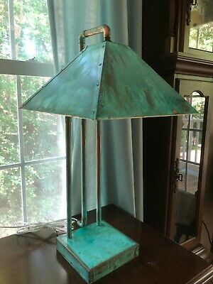 Mission style copper table lamp, Arts and Crafts copper table lamp, Copper lamps