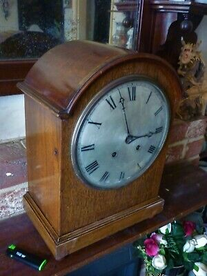 Large Antique Bell Strike Oak Wood Mantle Clock C 1900 Vgc