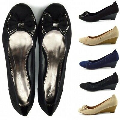 Womens Smart Comfort Court Shoes Low Wedge Bow Detail Office Party Mature Size