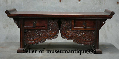 """19"""" Old Chinese Huanghuali Wood Dynasty Carved Phoenix Bird Drawer Table Desk"""