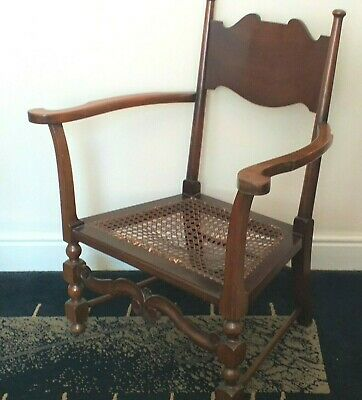 Elegant Antique Solid Wood Nursing Chair Fireside Armchair Ratten Cane Seat