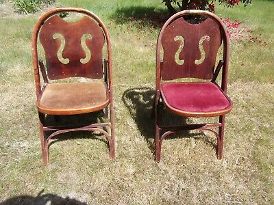 2 vintage Driscoll bent wood folding chairs