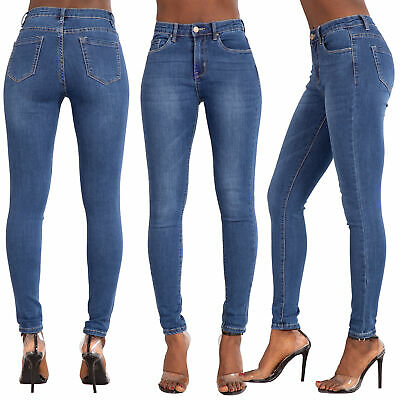 Womens High Waisted Skinny Jeans Ladies Jeggings Slim Stretchy Pants Size 6-14